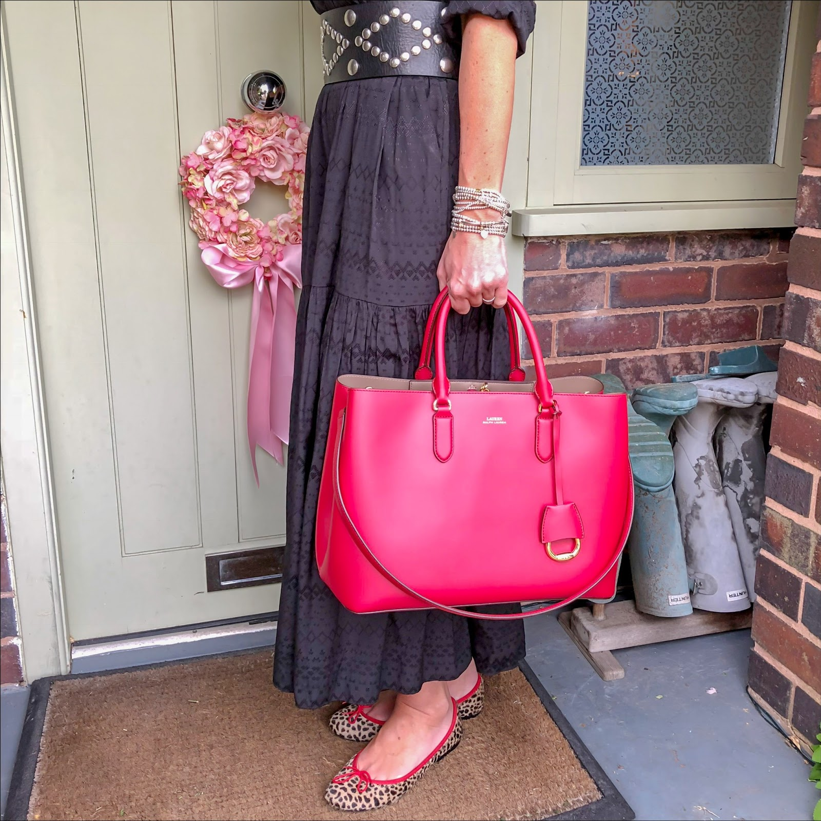 my midlife fashion, and other stories maxi shirt dress, isabel marant studded wide waist belt, french sole india leopard print ballet pumps, lauren ralph lauren dryden large tote bag