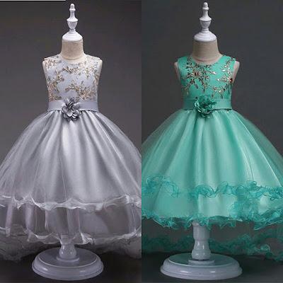 Gaun anak perempuan import gaun pesta ulang tahun