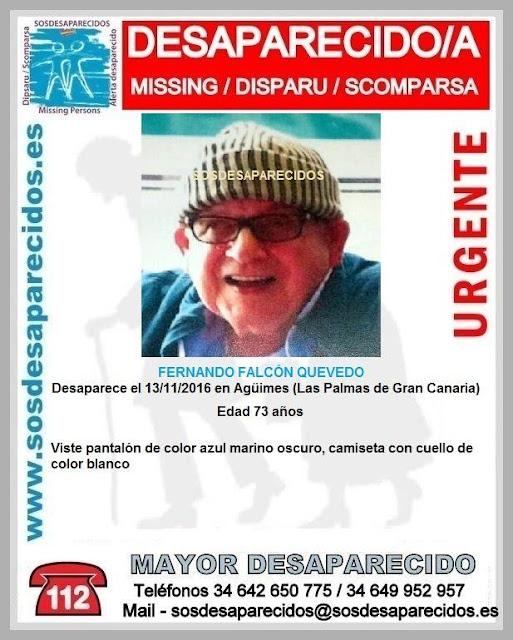 hombre desaparecido en Agüimes, Gran Canaria, Fernando Falcón Quevedo de 73 años