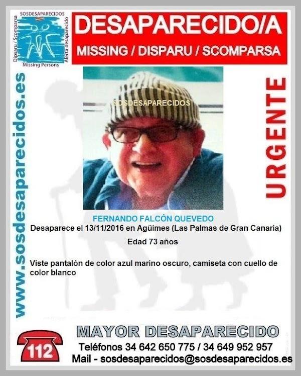 Hombre 73 años desaparecido en Agüimes, Gran Canaria