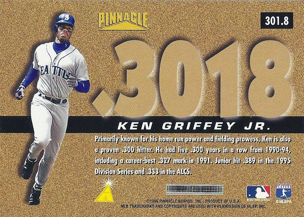 85a4c79c36 ... really get behind – all the guys who broke .300. Pretty neat idea. Oh,  and the cards are numbered each player's lifetime average. Fun! Junior's  lifetime ...