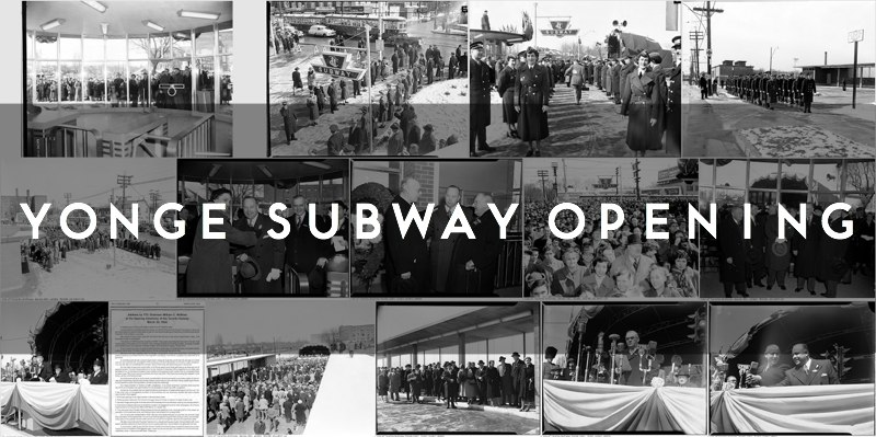 Gallery of photographs for the official opening day ceremonies of the Yonge subway