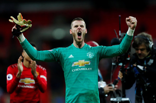 Manchester United goalie David De Gea gave a MOTM performance in their 1-0 victory over Spurs at Wembley on Sunday January 13, 2019.