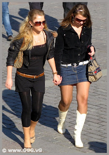 Girls in high heels boots on the street