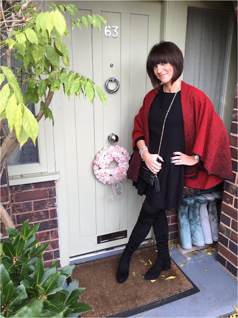 My Midlife Fashion, Damart Woven Wrap, Schuh Dash Boots, Hush Willow Knit Dress, Bella Jane Jewellery, Yosa Jane Clutch Bag