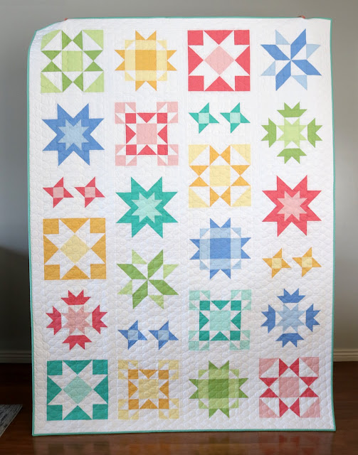 Starry Eyed quilt pattern by Andy of A Bright Corner - a star sampler quilt in Kona solids