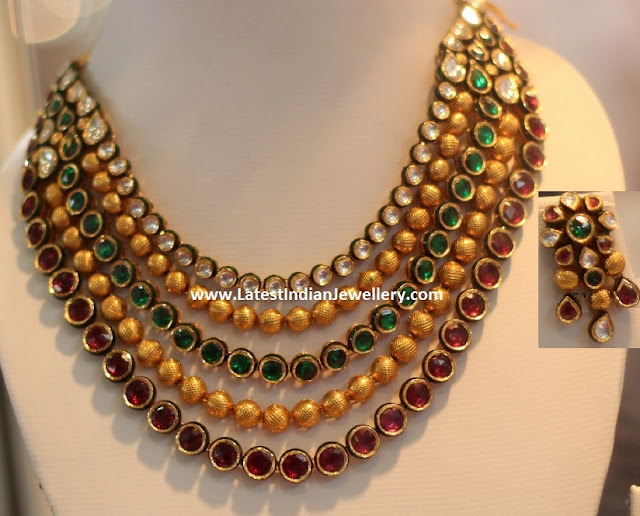 Kundan Gold Beads Layered Necklace