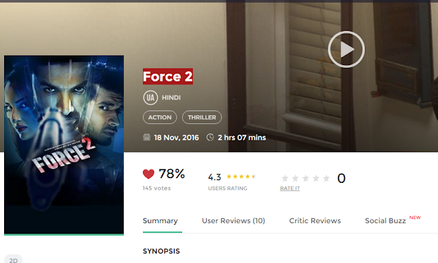 Force 2 (2016) Hindi Movie Download free in HD 720p avi mp4 3gp hq