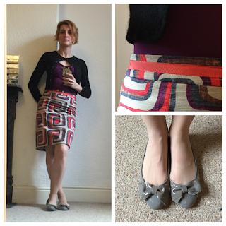 Boden Cardigan and retro print skirt