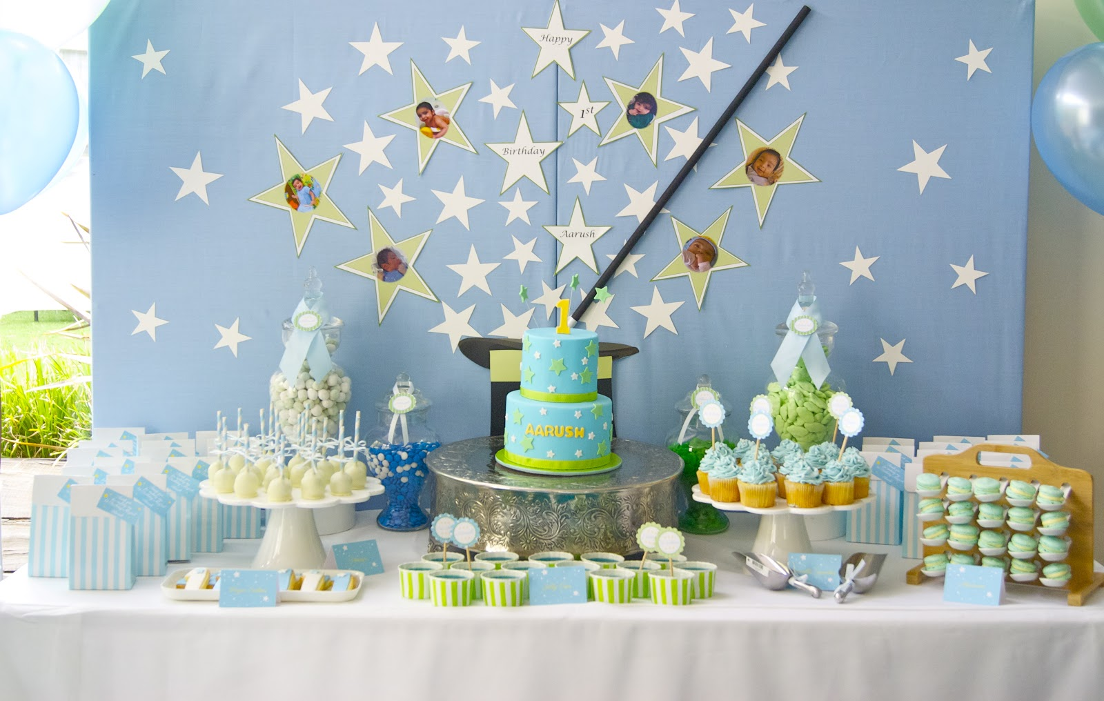 Magical 1st Birthday In Blue White And Green