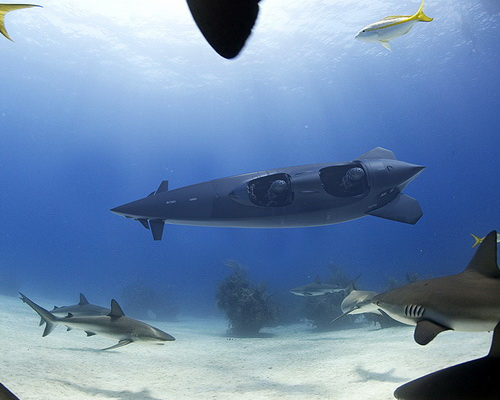 Tinuku.com Electric jet Ortega Submersible MK. 1C for three riders and MK. 1B for two riders to dive under ocean