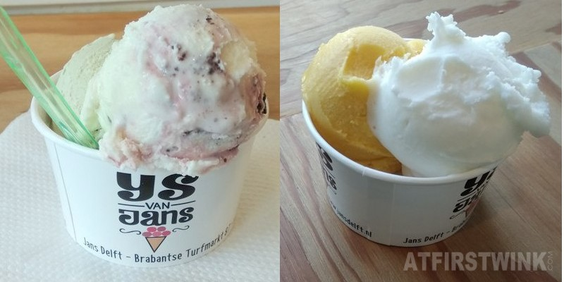 Jans Delft ice cream two scoops in a cup picasso pistachio lemon passion fruit