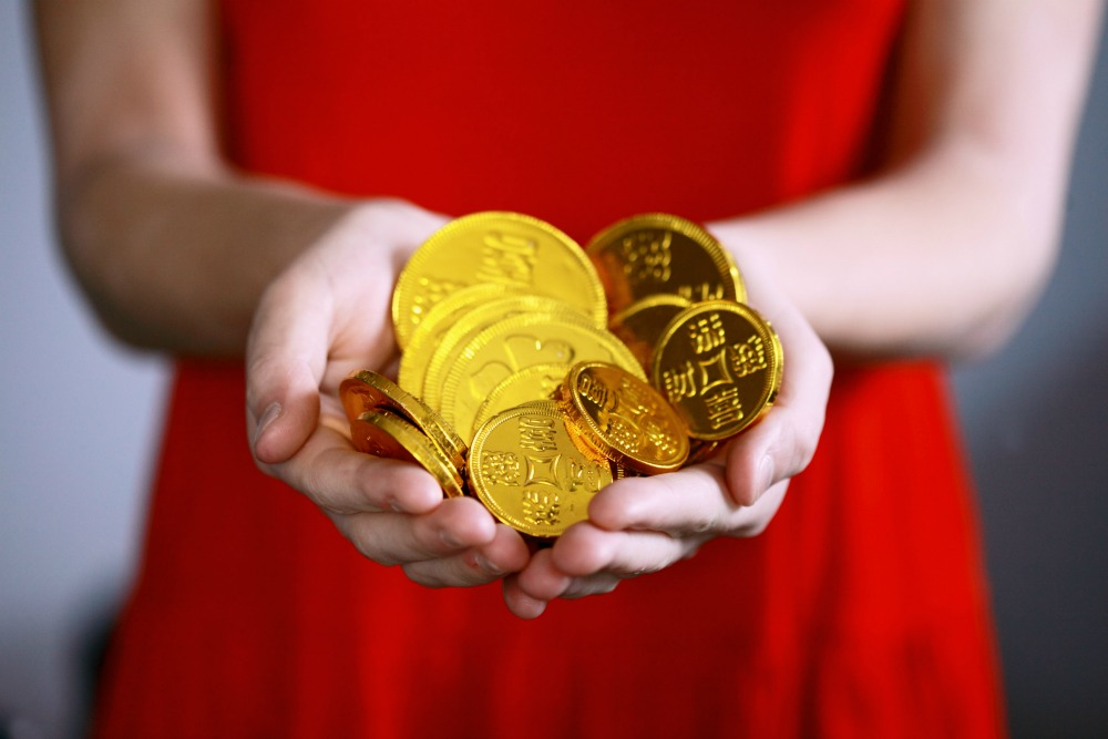 red dress and gold coins