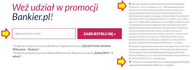 Zgoda wymagana na etapie rejestracji w promocji z Kontem 360 w Banku Millennium