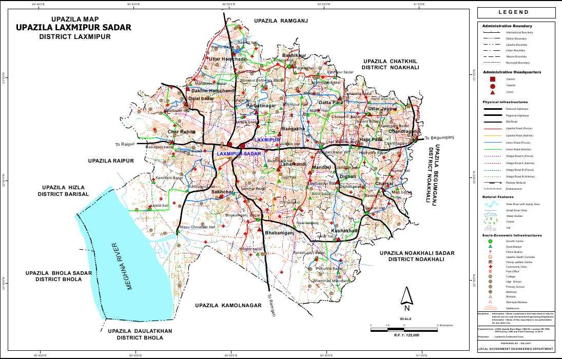 Lakshmipur Sadar Upazila Map Lakshmipur District Bangladesh