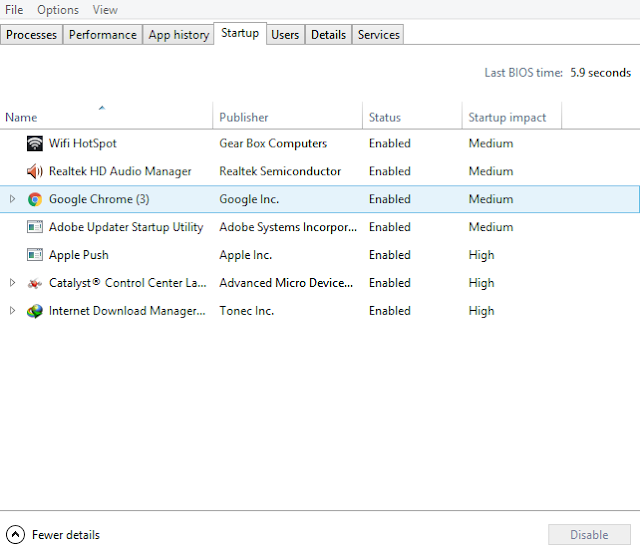 Beberapa contoh program startup Windows, disable agar bisa menambah peforma