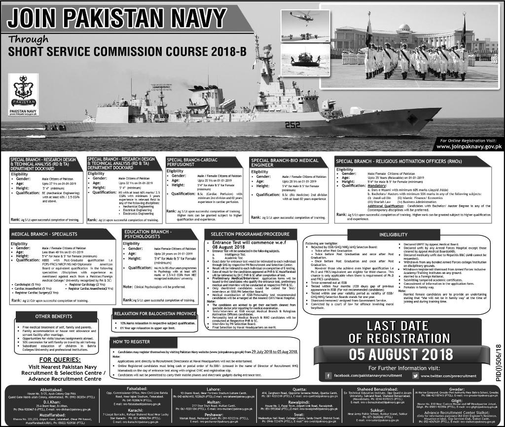 Join Pak Navy Through SSC 2018-B - Online Registration