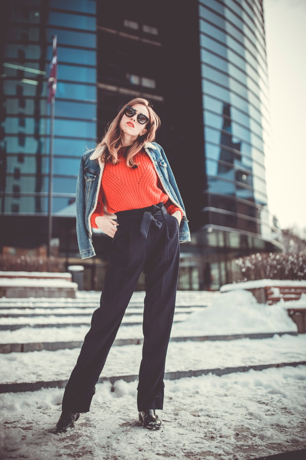 high waist trousers jumper winter outfit