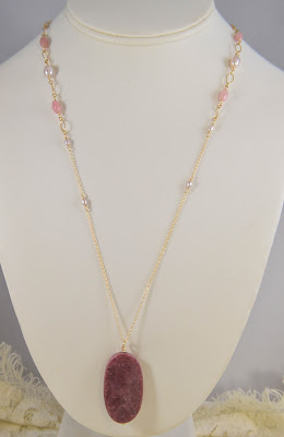 long necklace adjustable gold chain mauve purple pearls rose millennial pink agate rose rhodonite stone pendant handmade