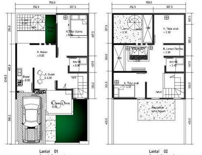 denah rumah minimalis 2 lantai type 36 minimalis