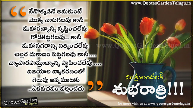 Heart touching Telugu Life quotes for good night greettings