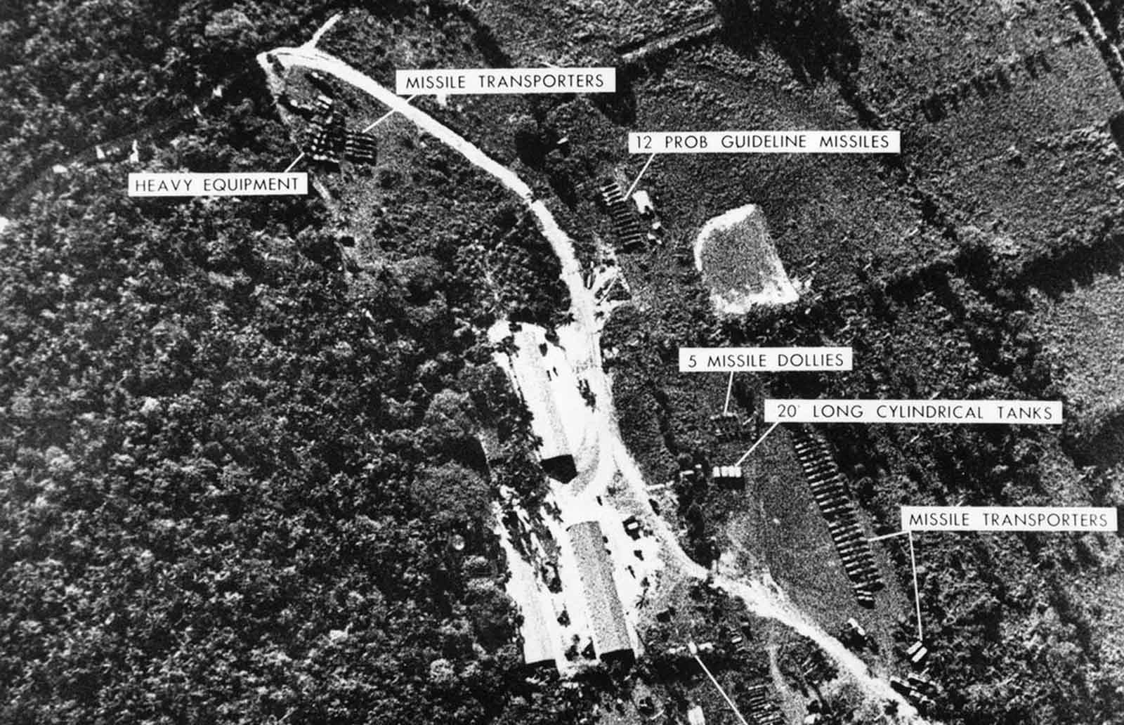 A photograph of a ballistic missile base in Cuba, used as evidence with which U.S. President John F. Kennedy ordered a naval blockade of Cuba during the Cuban missile crisis, on October 24, 1962.