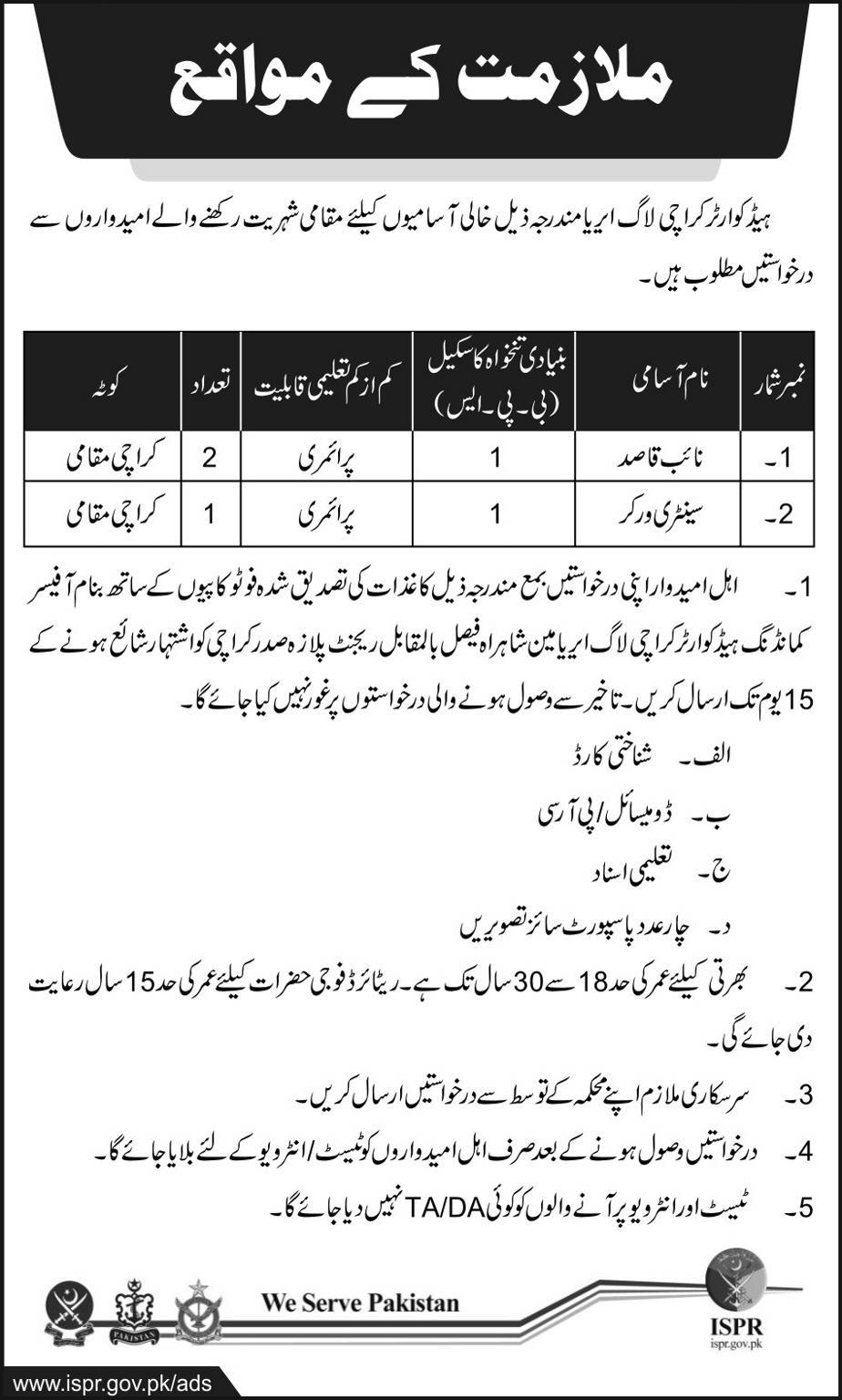 Jobs In Headquarter Karachi Pak Army Dec 2017