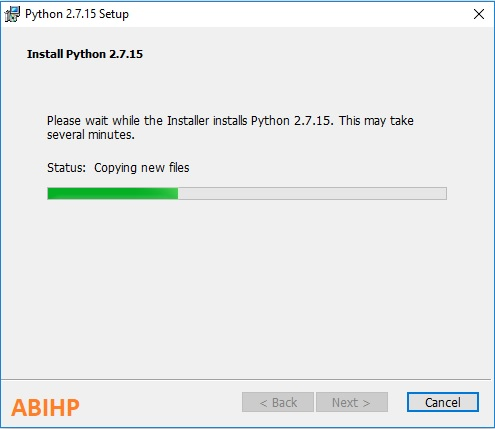 Biarkan proses instalasi Python ditandai bar proses sampai penuh.