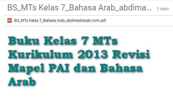 Buku Kelas 7 MTs Kurikulum 2013 Revisi Mapel PAI dan Bahasa Arab