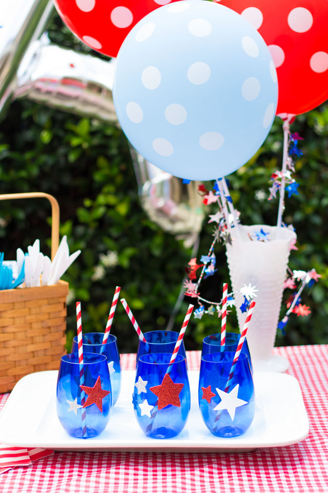 Make patriotic glasses for your 4th of July party with stickers!
