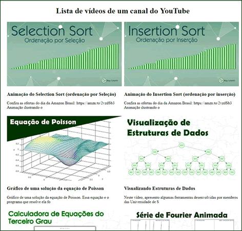 Lista de vídeos do Canal Blog Cyberini em HTML