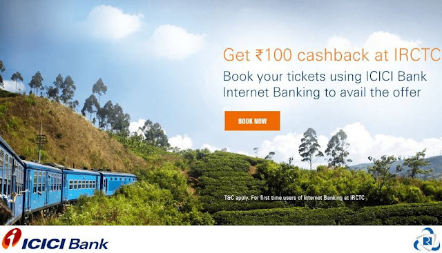 ICICI Bank in association with IRCTC is now offering a fantastic offer where you can avail a flat Rs.100 Cashback on train bookings at 'IRCTC' using ICICI Bank Internet Banking Service.