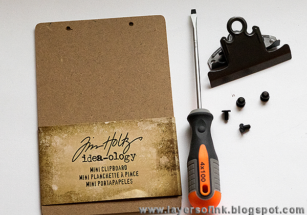 Layers of ink - Mini Clipboard Tutorial by Anna-Karin, with Sizzix dies by Tim Holtz and Inksheets