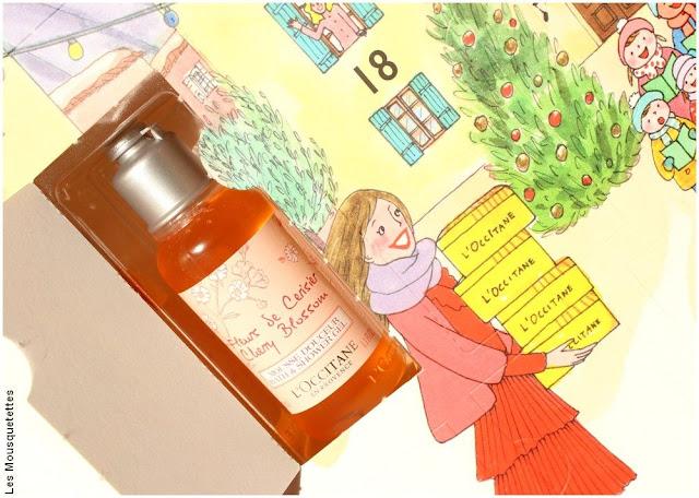 Jour n°1 du Calendrier de l'Avent L'Occitane en Provence - Mousse Douceur Fleurs de Cerisier - Contenu 2017 - Blog beauté