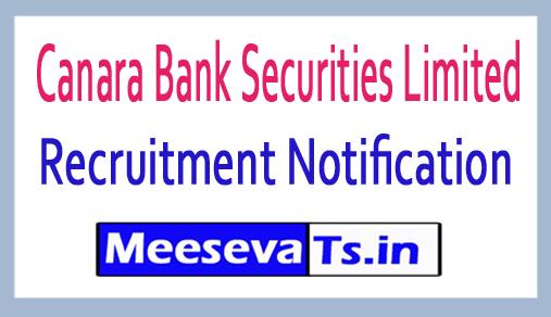 Canara Bank Securities Limited CBSL Recruitment