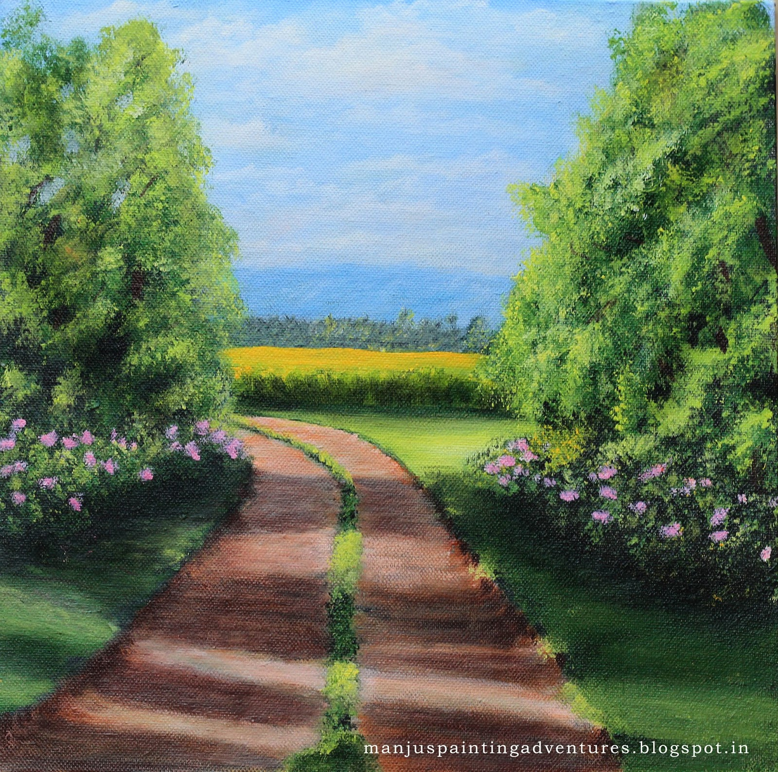 late - afternoon - stroll - painting - manjuraj