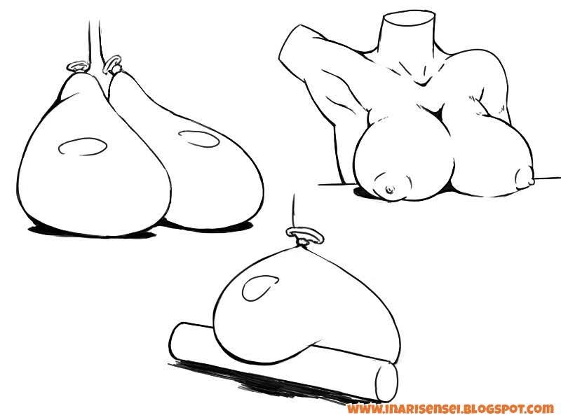 Effet de la gravité sur les seins lorsqu'ils sont posé sur le sol ou sur une table