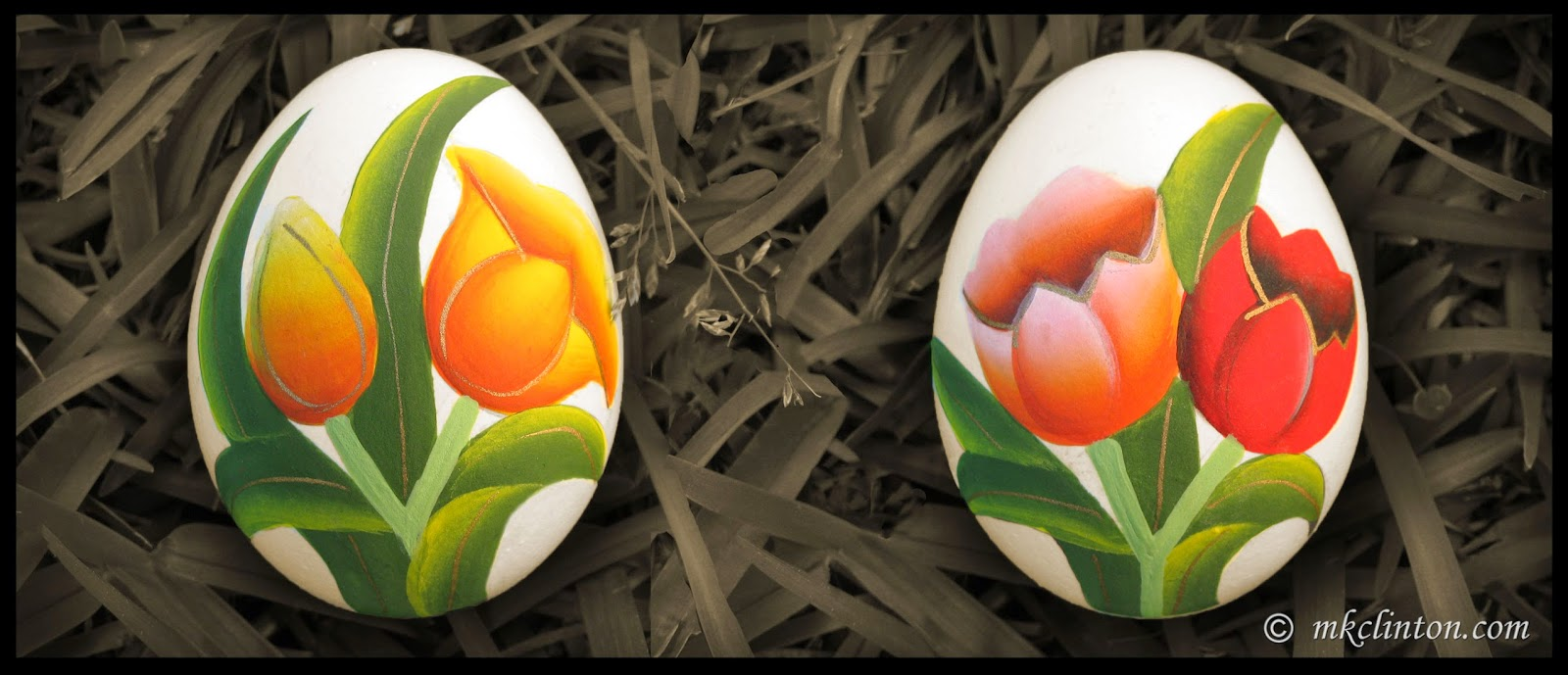 Flowers painted on Easter eggs