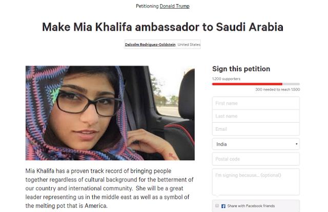 Viral Petisi Kepada Trump Untuk Jadikan Mia Khalifah Dubes AS untuk Saudi