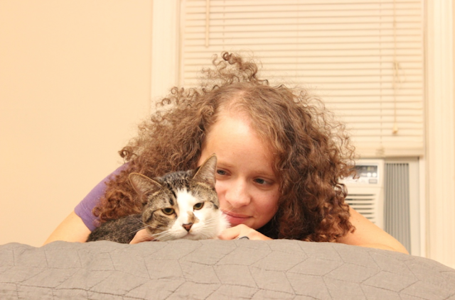 Photo of Beth Spencer with her cat, Sean.