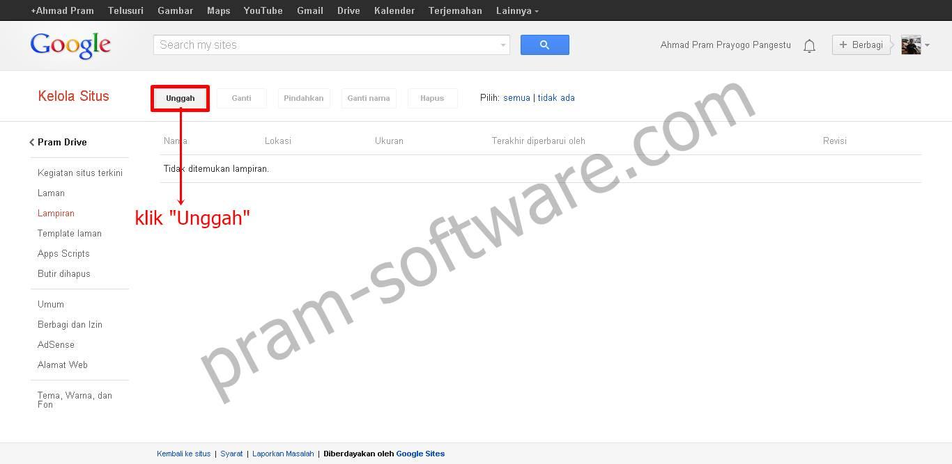 Unggah di Google Sites