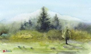 まきば ニュージーランド A pasture / New Zealand 水彩画