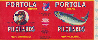 Historic red label for Portola Brand Pilchards, Hovden Cannery, Monterey, California