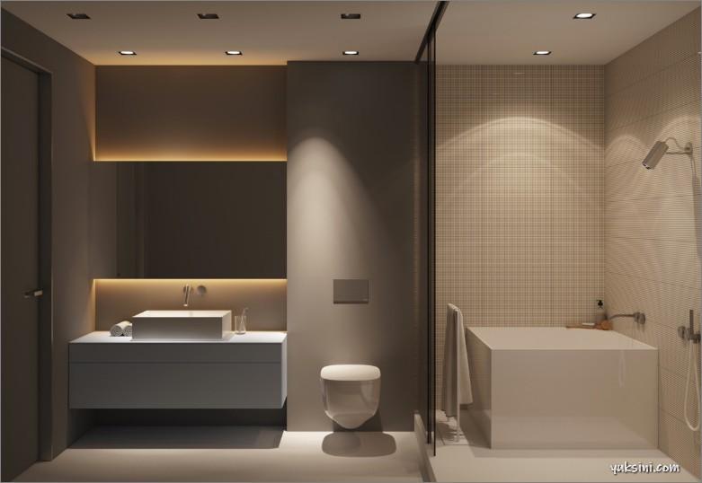 Kamar mandi minimalis dengan perpaduan LED downlight dan scroll