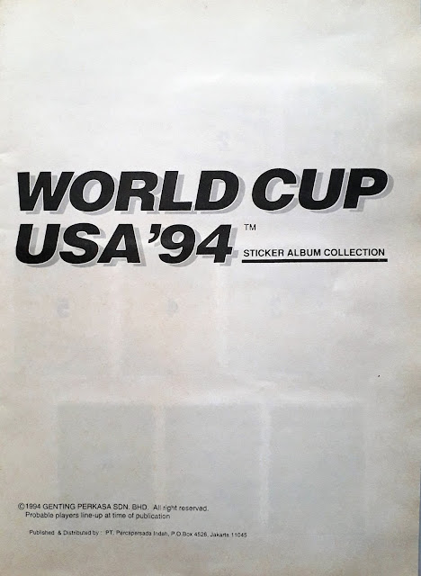 WORLD CUP USA '94 STICKER ALBUM COLLECTION