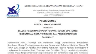 Pengumuman Pendaftaran Seleksi CPNS di Kementerian Riset, Teknologi, dan Pendidikan Tinggi (Kemenristekdikti) Tahun 2017