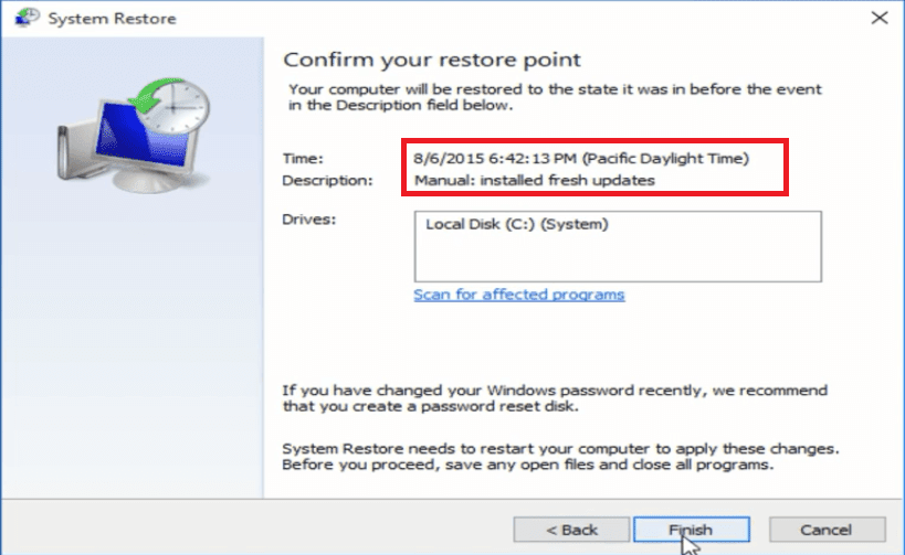 cara melakukan system restore windows 10
