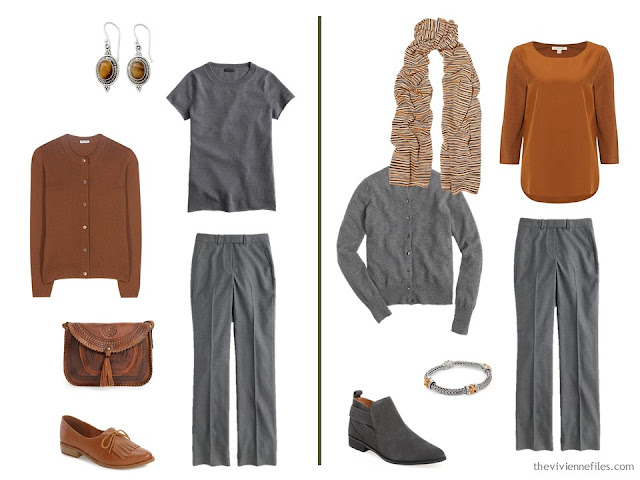 Capsule wardrobe colour palette inspiration - a dash of cinnamon with grey