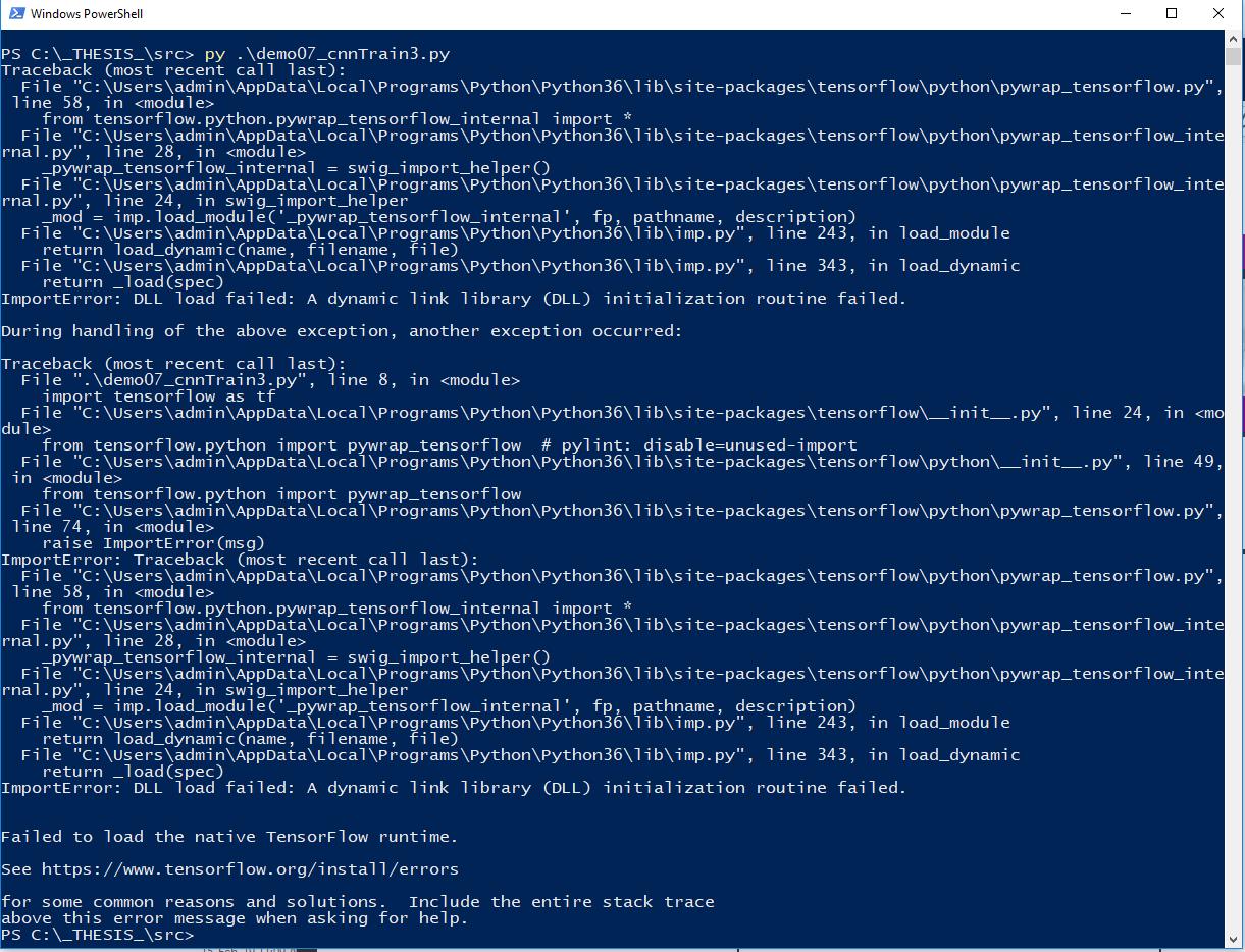 Tensorflow : DLL load failed