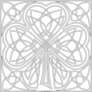 Knotwork shamrock to print and color- available in JPG and transparent PNG